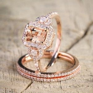 Rose gold Morganite & Diamond Three Halo Ring